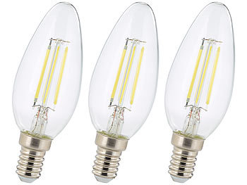 3er-Set LED-Filament-Kerzen, B35, E14, 470 Lumen, 4 Watt, 6500 K
