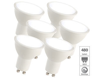 6er-Set LED-Spots GU10, 7 Watt, 480 lm, A+, 6.500 K, 120°, A+