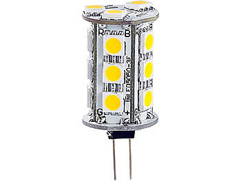 LED-Stiftsockellampe mit 18 SMD LEDs, G4 (12V), tageslichtweiß, rund