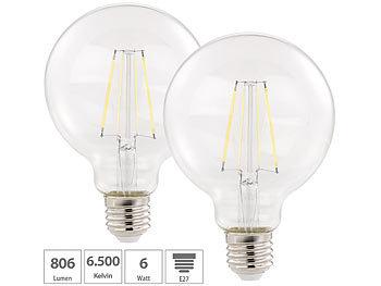 2er Pack LED-Filament-Birne, E27, A++, 6 W, 806 lm, 360°