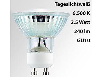 LED-Spotlight m. Glasgehäuse, GU10, 2,5 W, 230V, 240lm, tageslichtweiß