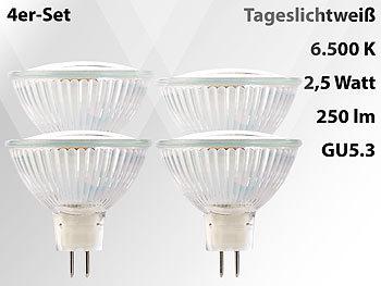 LED-Spotlight mit Glasgehäuse, GU5.3, 3 W, 12 V, 250 lm, weiß, 4er-Set