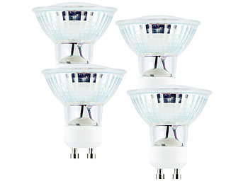 LED-Spotlight, Glasgehäuse, GU10, 3,3W, 300lm,warmweiß,dimmbar,4er-Set