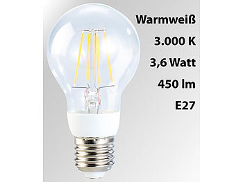 LED-Filament-Birne, 3,6 W, E27, warmweiß, 3000 K, 450 lm, 360°