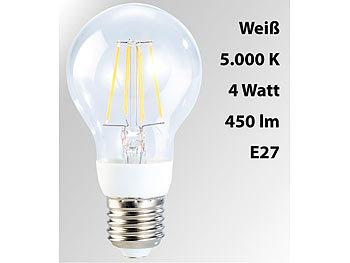 LED-Filament-Birne, 4 Watt, E27, 5000 K, 450 Lumen, 360°, weiß