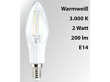 LED-Filament-Kerze, B35, 2 W, E14, warmweiß, 200 lm, 360°