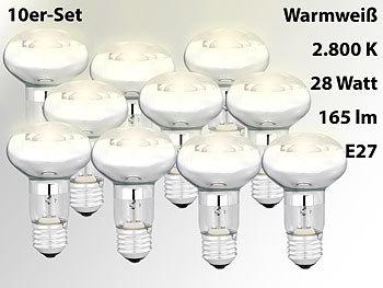 Halogen-Reflektor, R63, E27, 165 Lumen, 28 Watt, warmweiß, 10er-Set
