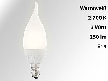 Geschwungene LED-Kerzenlampe, 3 W, E14, Ba35-P, warmweiß