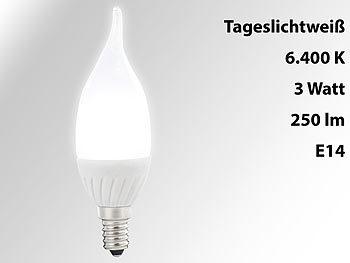 Geschwungene LED-Kerzenlampe, 3 W, E14, Ba35-P, tageslichtweiß