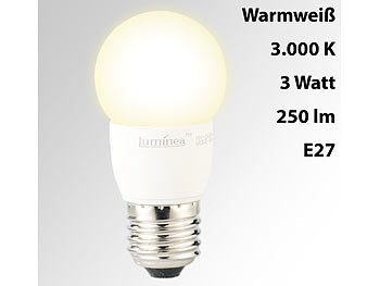 LED-Tropfen, E27, 3 W, 250 lm, 160°, 3.000 K, warmweiß