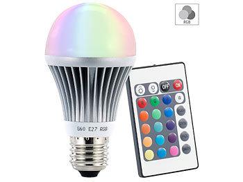 Farbwechselnde LED-Lampe (RGB-LED) mit Fernbedienung, E27