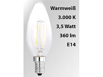 LED-Filament-Kerze, B35, A++, E14, 3,5 W, 360 lm, 270°, 3000 K