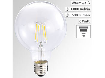 LED-Filament-Globelampe, G95, A++, E27, 6 Watt, 600 lm, 360°, 3000 K