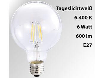 LED-Filament-Globelampe, G95, A++, E27, 6 W, 600lm, 360°, 6400K
