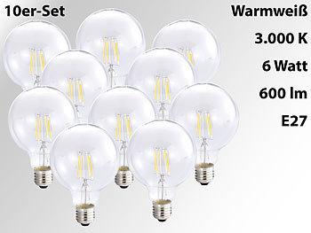 LED-Filament-Globelampe, G95, E27, 6 W, 600 lm, 360°, 3000 K, 10er-Set