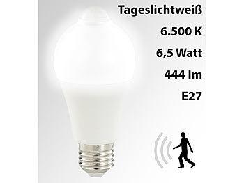 LED-Lampe, PIR-Sensor, 6,5 W, E27, tageslichtweiß, 6500 K, 444 Lumen