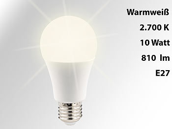 Lichtstarke LED-Lampe, E27, 10 W, 810 lm, A+, warmweiß