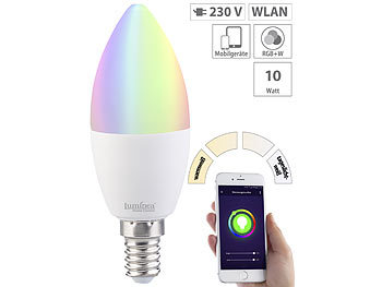 WLAN-LED-Lampe, kompat. zu Amazon Alexa & Google Assistant, E14, RGB+W