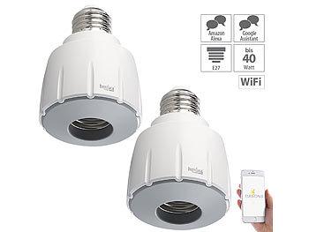 2er-Set WLAN-E27-Lampenfassung, für Amazon Alexa & Google Assistant