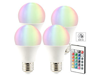 LED-Lampe in RGB + Warmweiß, E27, 10 Watt, Fernbedienung, 4er-Set