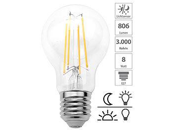 LED-Filament-Lampe mit Dämmerungssensor, E27, 8 W, 806 lm, warmweiß