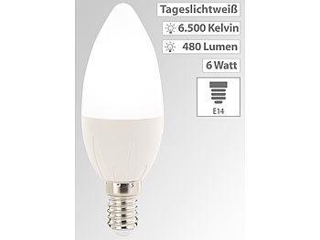 LED-Kerze E14 B35, 6 Watt, 480 Lumen, tageslichtweiß 6500 K, 270°, A+