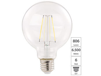 LED-Filament-Birne, E27, A++, 6 W, 806 lm, 360°, tageslichtweiß, G95