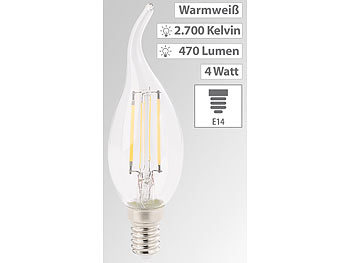 LED-Filament-Kerze, E14, A+, 4 Watt, 470 Lumen, 360°, warmweiß, Ba35
