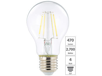 LED-Filament-Birne, A+, E27, 4 Watt, 470 Lumen, 360°, warmweiß, A60