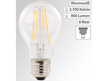 LED-Filament-Lampe, E27, A++, 6 Watt, 806 Lumen, 360°, warmweiß, A60