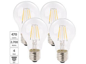 LED-Filament-Birne, A+, E27, 4 W, 470 Lm, 360°, warmweiß, 4er-Set