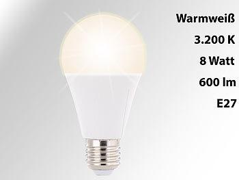 LED-Lampe, E27, 8 Watt, 600 Lumen, 270°, warmweiß, 3200 Kelvin