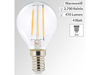 LED-Filament-Lampe, G45, E14, 470 lm, 4 W, 360°, warmweiß (2.700 K)