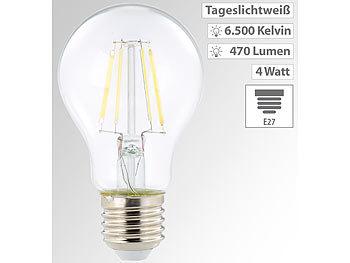 LED-Filament-Birne, A60, E27, 470 lm, 4 W, 360°, 6.500 K