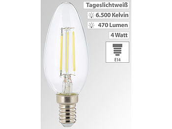 LED-Filament-Kerze, B35, E14, 470 lm, 4 W, 360°, 6.500 K