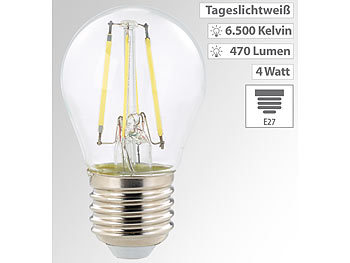 LED-Filament-Tropfen E27, G45-Form, 470 Lumen, 4 Watt, 360°, 6.500 K