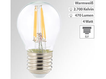 LED-Filament-Lampe, G45, E27, 470 lm, 4 W, 360°, warmweiß, 2.700 K