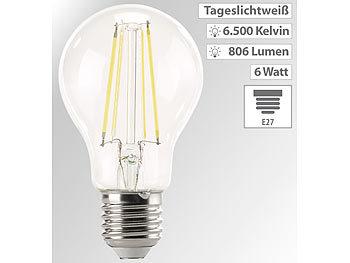 LED-Filament-Lampe, 806 Lumen, 6 Watt, 6.500 Kelvin, A60, E27, 360°