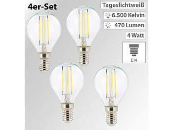 LED-Filament-Lampen G45, E14, 470 lm, 4 W, 360°, 6.500 K, 4er-Set