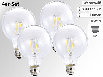 LED-Filament-Globelampe G95, E27, 6 W, 600 lm, 3000 K, 360°, 4er-Set
