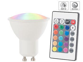 LED-Spot GU10, RGB & warmweiß, 4 Watt, 300 Lumen, A+, Fernbedienung