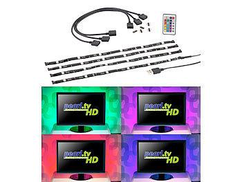 TV-Hintergrundbeleuchtung mit 4 RGB-Leisten für 61 - 111 cm, USB