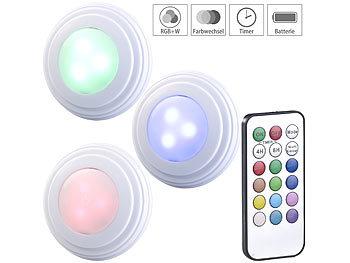 3er-Set RGB+W-LED-Unterbauleuchten, Fernbedienung, Timer, erweiterbar