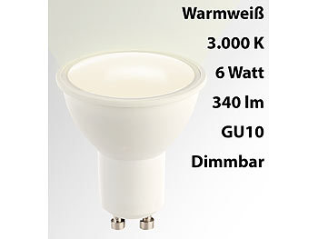 LED-Spot GU10, 6 Watt, 340 Lumen, A, warmweiß (3000 K), dimmbar