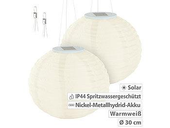 Solar-LED-Lampion mit Dämmerungs-Sensor, IP44, warmweiß, 30 cm Ø