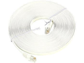 Netzwerk-Kabel Cat5e flach, weiß, 3m