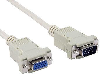 Monitor-Kabelverlängerung 1,8m VGA Sub-D 15-pol. Stecker/Buchse