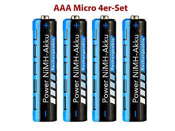 1100 mAh NiMH-Akkus AAA Micro 4er-Set