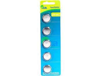 Lithium-Knopfzellen CR2032 (BIOS-Zelle), 3 Volt, im 5er-Sparpaket