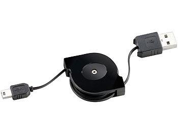 USB-2.0-Kabel Typ A auf Mini-USB, 80 cm, mit Kabeltrommel